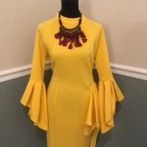 Brighten Up the Place Bell-Sleeved Dress